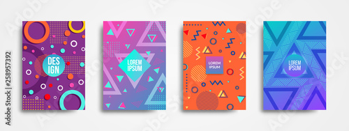 Fotografía  Set of four trendy memphis style covers backgrounds with geometric shape