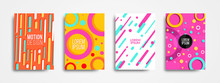 Set Of Four Trendy Memphis Style Covers With Basic Shape And Dynamic Design. Cool Colorful Backgrounds, Applicable For Covers, Posters, And Banner Designs