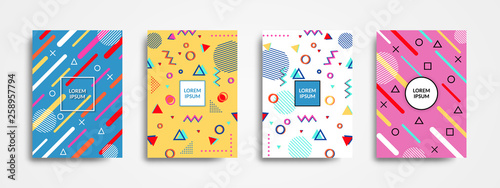 Pinturas sobre lienzo  Set of 4 trendy memphis style covers with geometric pattern