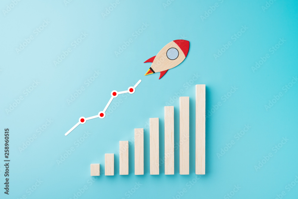 Fototapety, obrazy: Rocket and chart on blue background business financial start up growth success concept object design