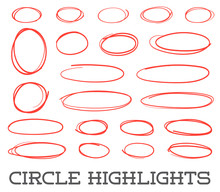 Highlight Circles Set. Vector Collection. Hand Drawn Red Ovals. Highlighting Text Or Important Objects. Marker Doodle Sketch. Round Scribble Frames. Vector.