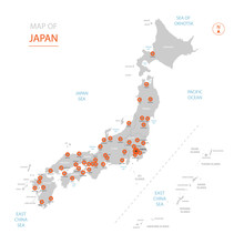 Stylized Vector Japan Map Showing Big Cities, Capital Tokyo, Administrative Divisions.