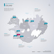 Iceland vector map with infographic elements, pointer marks.