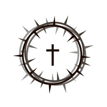 Crown Of Thorns And Cross Icon Isolated On White Background