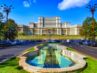 Famous Parliament house in Bucharest capital in a beautiful sunny  day of spring in Romania
