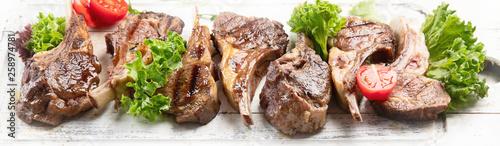 Canvas Print Grilled lamb ribs