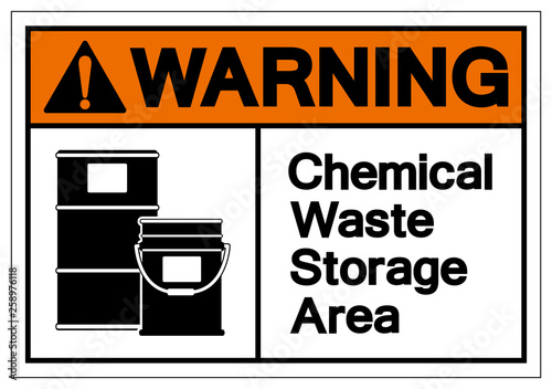 Warning Chemical Waste Storage Area Symbol Sign, Vector Illustration, Isolate On White Background Label Canvas Print