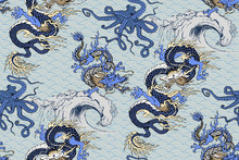 Pattern Of Asian Dragon, Octopus And Sea Voyages. Vector Illustration. Suitable For Fabric, Wrapping Paper And The Like