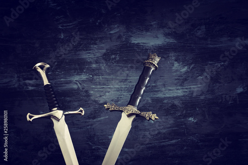 low key banner of silver sword. fantasy medieval period Canvas Print