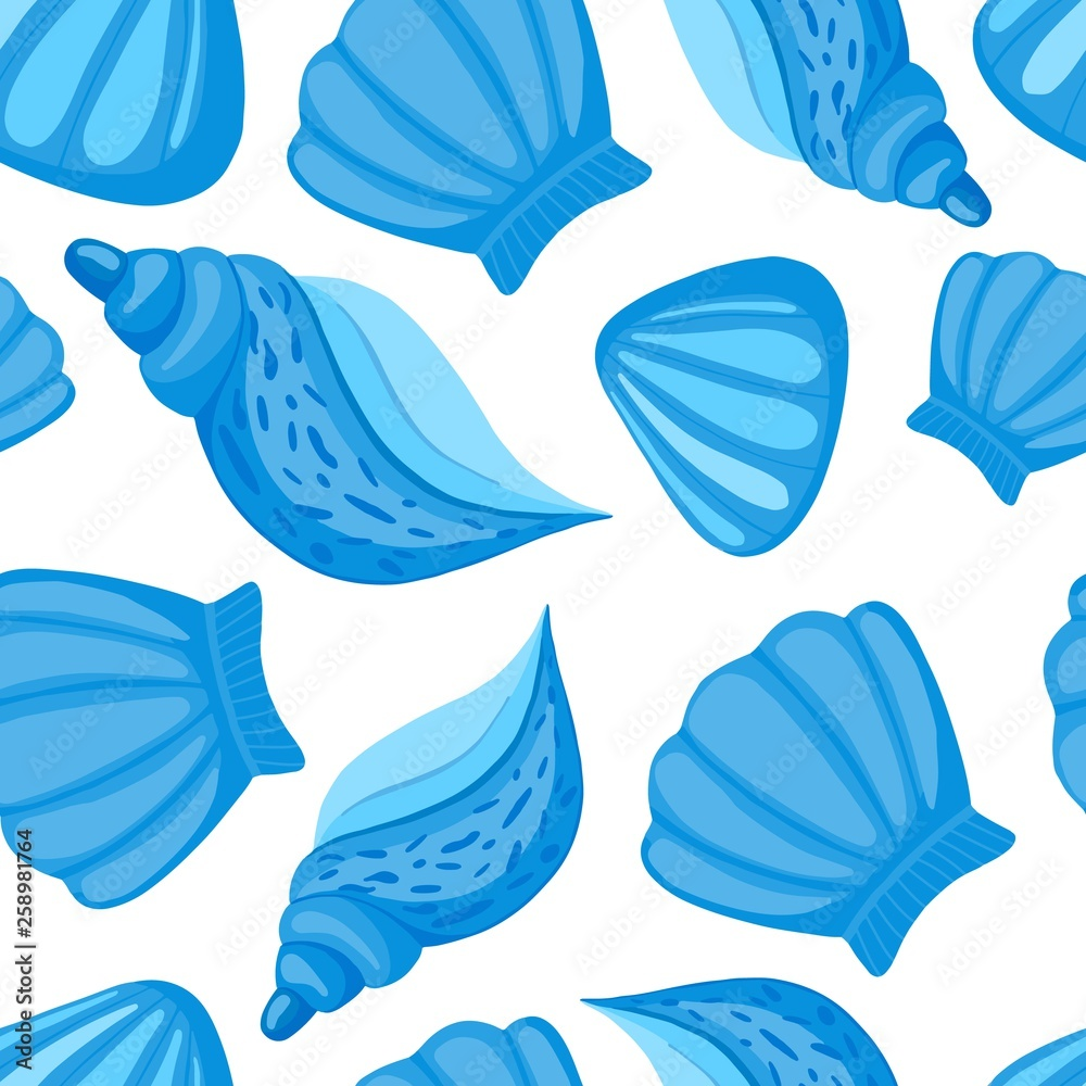 Seashells vector seamless pattern. Abstract marine wallpaper.