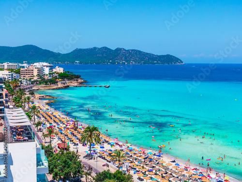 Foto auf Leinwand Turkis Cala Millor beach and hotels