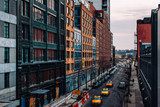Fototapeta New York - Street view of west 23th street in Chelsea New York City