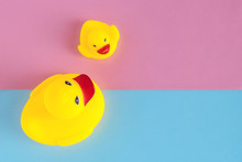 Two Yellow Bath Ducks On  Blue...