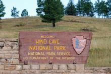 Sign At Entrance To Wind Cave National Park In Black Hills South Dakota