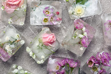 Floral Ice Cubes On Table, Flat Lay