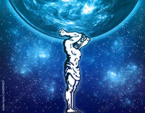 Fotografía  Human figure of a man Atlas and a globe on cosmos space