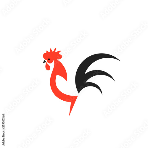 Cuadros en Lienzo Rooster. Logo. Isolated chicken on white background