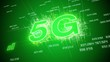 Video animation of the fast 5G mobile network on green background