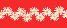 Daisy Flowers Seamless Vector Border. Distressed White Vintage Chamomile Flowers On Red Endless Pattern. Contemporary Seasonal Ditsy Floral Repeat Tile. Hand Drawn Retro Design For Cards, Summer Decor