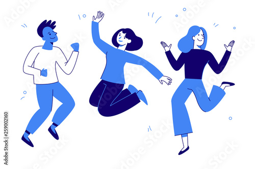 Obraz Vector illustration in flat simple style - happy jumping team - smiling men and women - fototapety do salonu