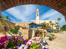 View Of Kedumim Square With St. Peter's Church In Old Jaffa, Tel Aviv, Israel