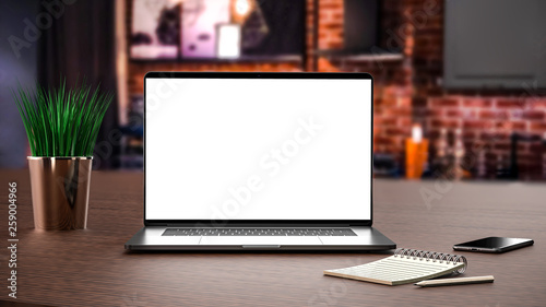 Fotografie, Obraz  Laptop, notebook, pencil and smartphone.