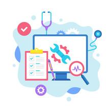 Computer Repair Concept. Vector Illustration. Computer Service, Maintenance, Diagnostic, Technical Support. Flat Design Graphic Elements