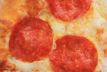 Pepperoni Pizza Slice With Freshly Baked Ingredients Close Up View. Traditional Classic Italian Pizza Pie With Pepperoni, Cheese And Tomato Sauce. Delicious Pepperoni Pizza Food For Fast Snack