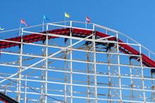 Old Wood Vintage Roller Coaster, Amusement Park.