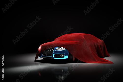 Fotografie, Obraz  concept of presentation of the car under a red cloth in a darck studio 3d render