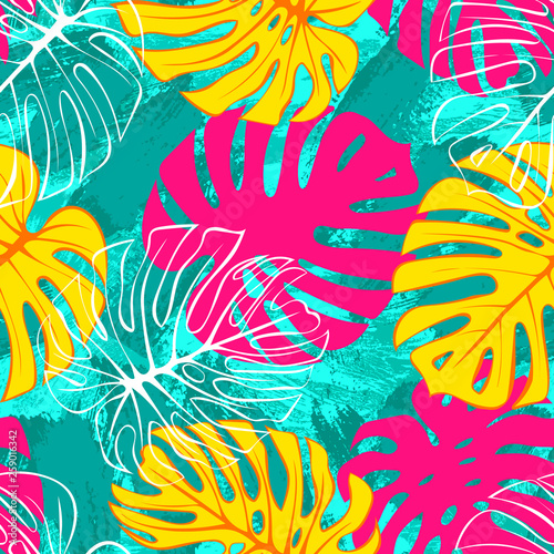 Foto op Canvas Bloemen vrouw Tropical exotic monstera palm leaves seamless pattern. Exotic jungle backgound.