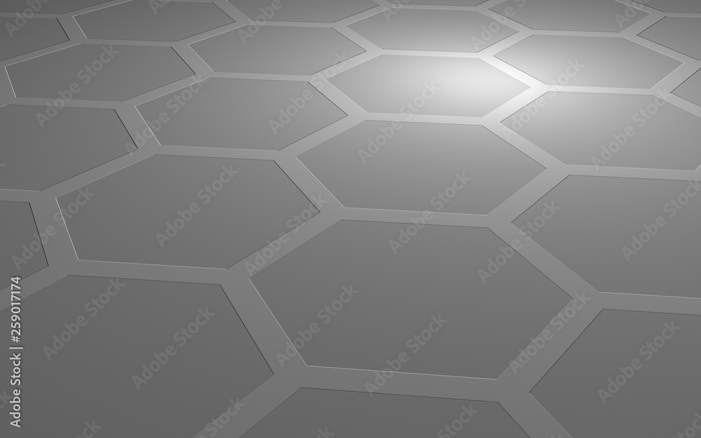 Honeycomb on a gray background. Perspective view