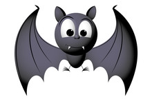 Cartoon Character - Bat Isolated On White Background