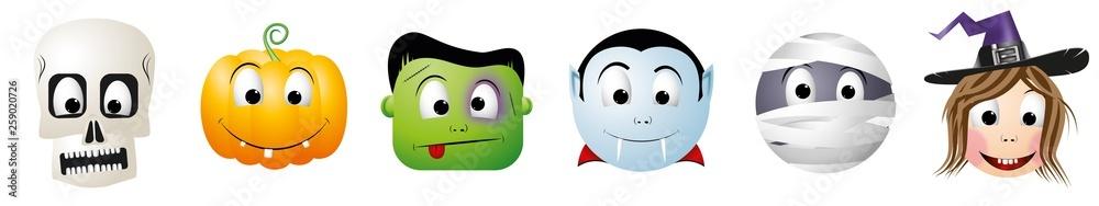Fototapeta Halloween cartoon characters - skeleton (skull), jack-o-lantern