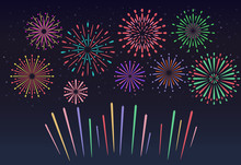 Colorful Fireworks On Night Sk...