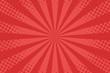 Comic book background. Sunburst halftone pattern in retro pop art style