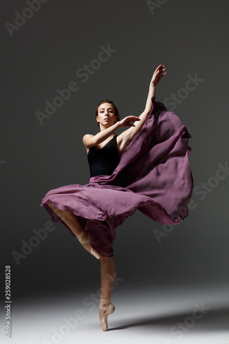 Foto auf Leinwand Akt Young beautiful ballerina is posing in studio