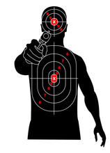 Target Shooting. Silhouette Of A Man With Gun In His Hand, Criminal, Delinquent. Target On His Chest And Head