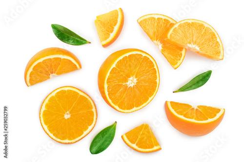 Leinwand Poster orange with leaves isolated on white background
