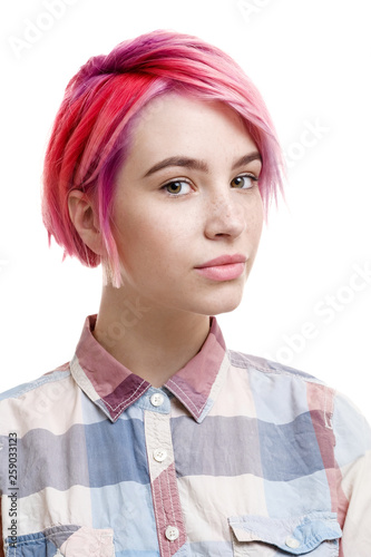 Young beautiful girl with a short hair cut pixie bob. Color ...