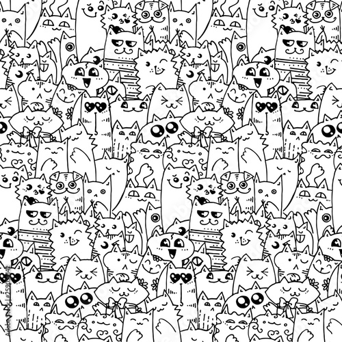 obraz lub plakat Cute doodle cats seamless pattern. Great for coloring book, wrapping, printing, fabric and textile