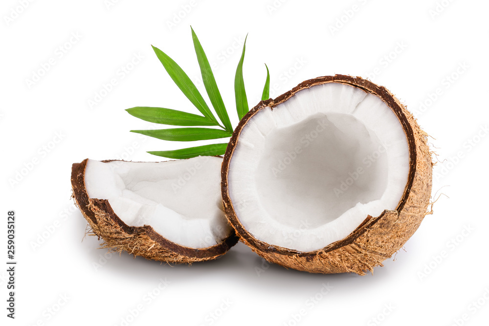 Fototapety, obrazy: half of coconut with leaves isolated on white background