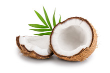 Half Of Coconut With Leaves Is...