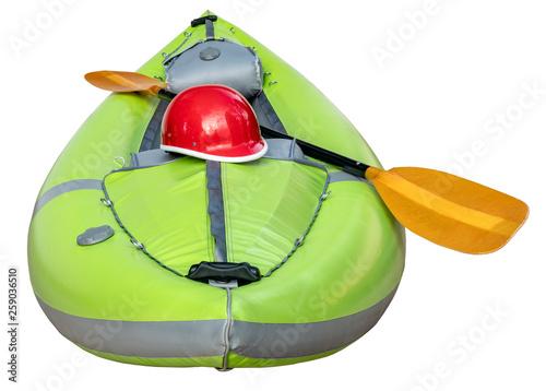 Fotografie, Obraz  green inflatable whitewater kayak