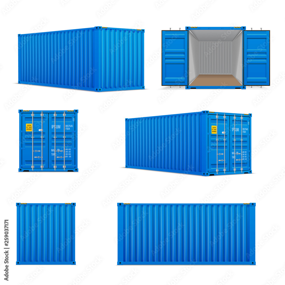 Fototapety, obrazy: Realistic set of bright blue  cargo containers.   Front, side back and perspective view