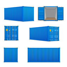 Realistic Set Of Bright Blue  Cargo Containers.   Front, Side Back And Perspective View