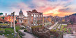 Ancient ruins of Roman Forum at sunrise, Rome, Italy