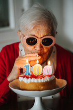 Kind Grandmother Is Celebrating Her 100th Birthday At Home.