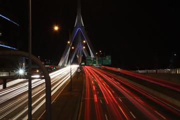 Fototapeta na wymiar Zakim Bridge Traffic