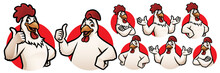 Cartoon Rooster And Chicken Ma...